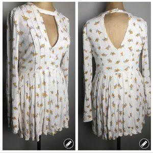 Free People white choker cutout long sleeve dress